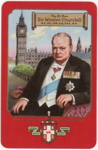 Playing-Cards-Single-Card-Old-Vintage-1955-WORSHIPFUL-Co-Sir-Winston-Churchill-2