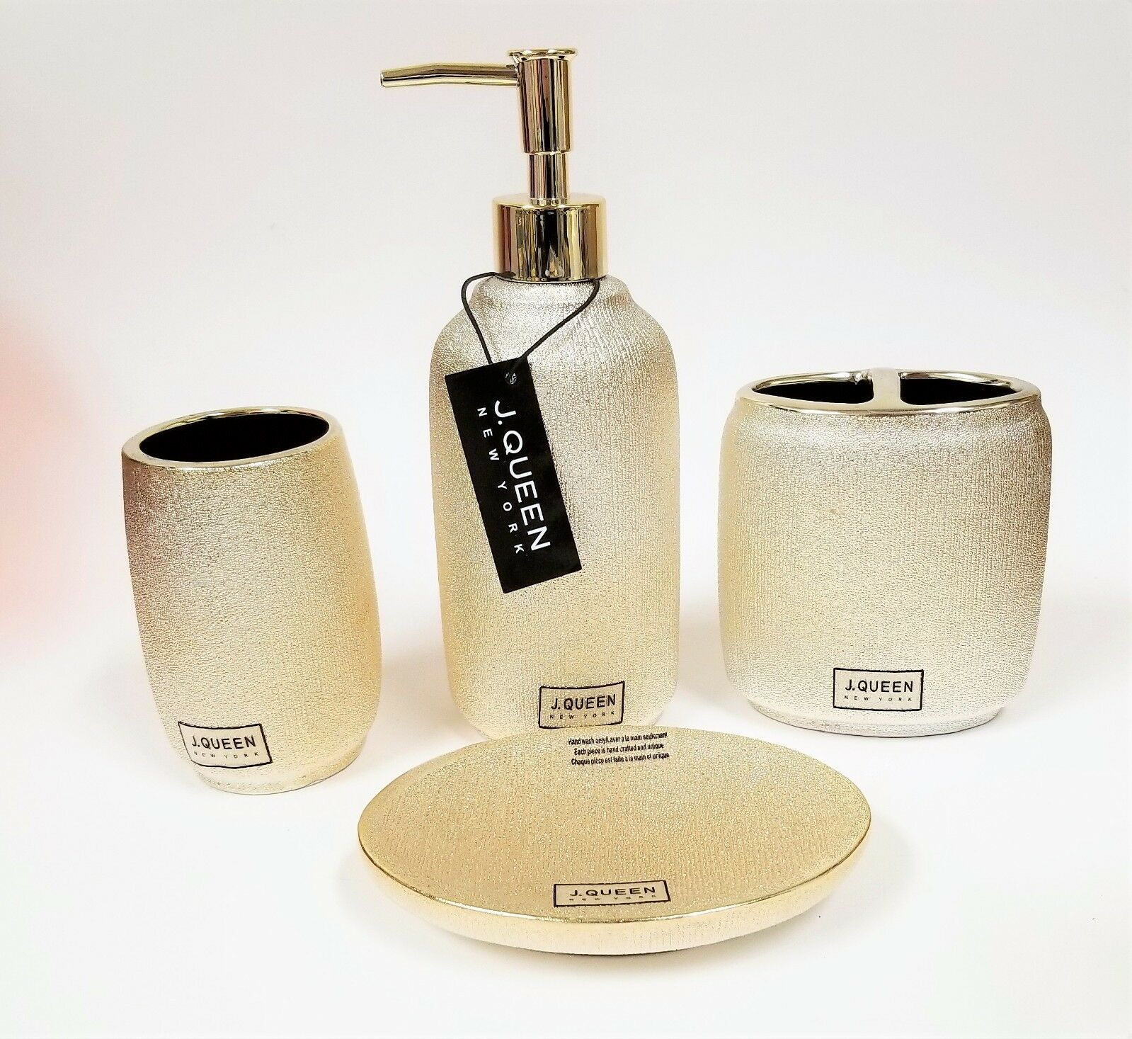 NEW J.QUEEN 4 PC SET METALLIC PALE Gold CHAMPAGNE CERAMIC SOAP DISPENSER+DISH+2