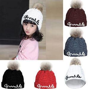 13d0e36d04a Baby Boy Girl Child Kids Winter Beanie Hat Fur Pom Bobble Beret Knit ...
