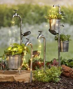 Solar-Garden-Stakes-Water-Faucet-Fairy-Light-Yard-Lawn-Art-Outdoor-Home-Decor