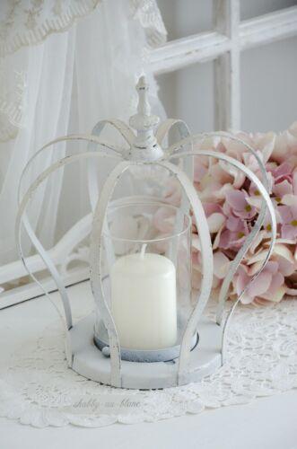 Teelichthalter Krone Metallkrone Weiß Shabby Chic Vintage Landhaus