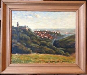 Jean-Andre-Emmerich-1949-Fleurance-Oil-Painting-View-of-Kronberg-1986-Frame