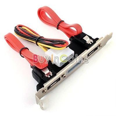 2 Ports eSATA 4 Pin Power PCI Bracket Slot SATA Cable