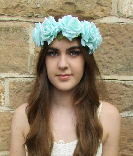 Grand vert menthe aqua rose serre-tête cheveux fleur couronne garland festival boho Z94