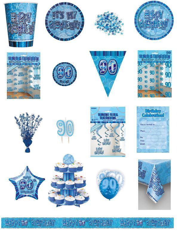 90 90th Azul Glitz Fiesta de Cumpleaños GAMA-Fiesta placas Servilletas pancartas cups