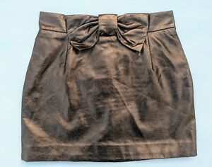 H-amp-M-Faux-Leather-Bronze-Gold-Brown-Mini-Skirt-With-Bow-38-As-New-fits-8-10