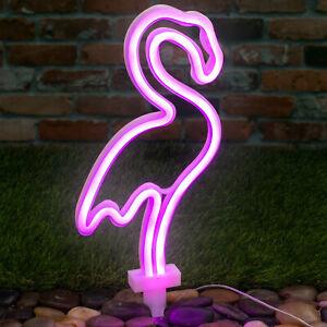 Solar-Powered-Pink-Neon-Flamingo-Light-Garden-Decor-Ornament-Patio-Lighting-UK