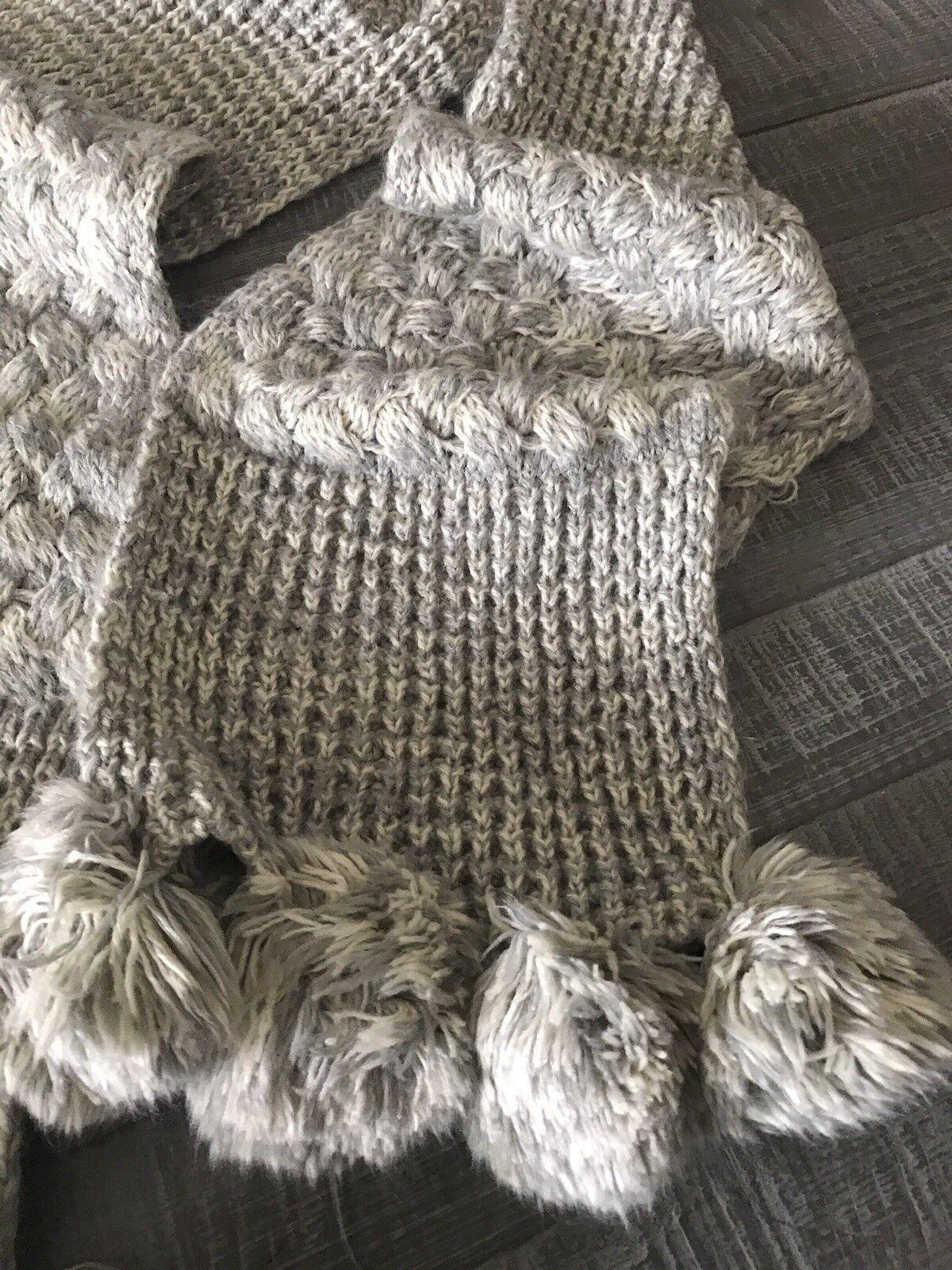 Women Claire Grey Knit Scarf Long Pom Pom Shawl  - image 2