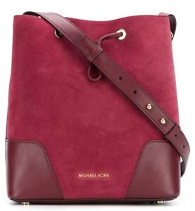 861849d664d1 New NWT Michael Kors Cary Medium Bucket Bag Suede Leather Maroon ...