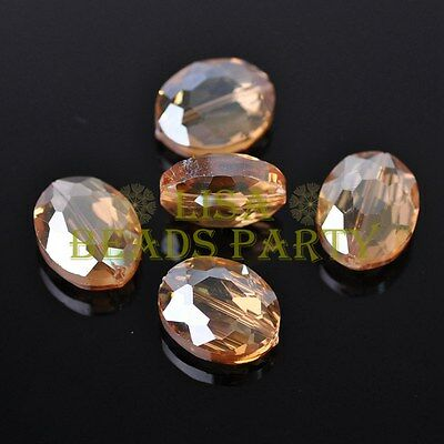10pcs 20X16X9mm Faceted Oval Crystal Glass Charms Findings Loose Spacer Beads
