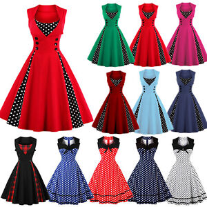 Women-50s-60s-Vintage-Rockabilly-Dotted-Swing-Dress-Evening-Party-Cocktail-Prom