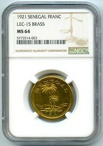 Senegal-Ziguinchor-Chambre-de-Commerce-1-Franc-1921-NGC-MS-64-Top-grade