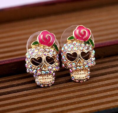 Fashion Lady Pink Rose Rhinestone Skeleton Skull Punk Ear Studs Earrings Jewelry
