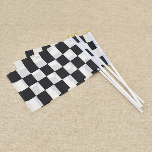 5 Pcs//Lot Black White Chequered Racing Flag Hand Signal Finish Line Banner