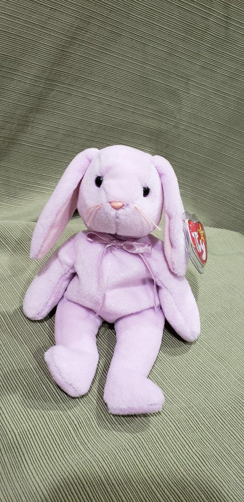 Ty Beanie Baby Floppity the Lavender Bunny w Errors 1996 MWMT