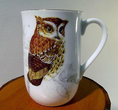Otagiri Japan Porcelain Collector's OWL Mug/Cup Gold Rim Vibrant 1-side Design