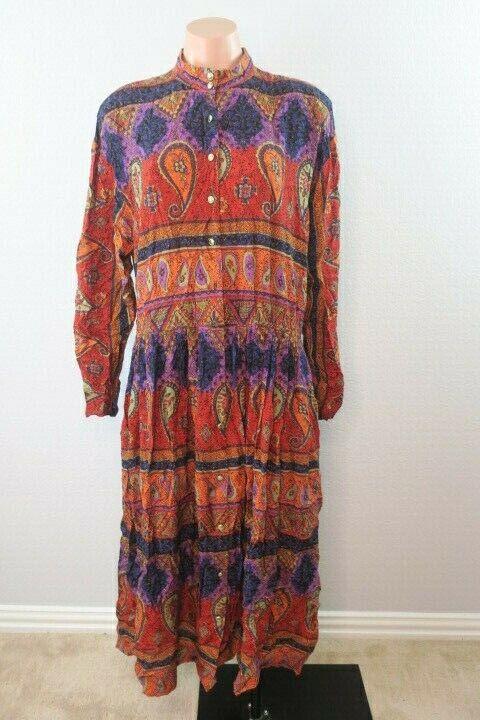 Vtg 90s Neiman Marcus Floral Patchwork Long Sleeve Prairie Dress Plus 18 Pleated