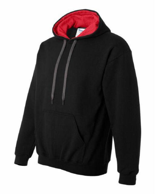 (Free PnP) Gildan Mens Heavy Blend Contrast Hooded Sweatshirt Blank Hoodie
