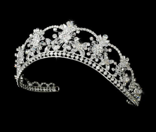 HP #8523 Silver Floral Bridal Tiara that comes in 17 Different Colors