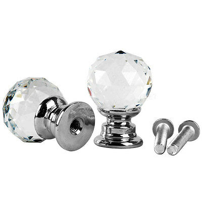 2PCS Round Quality Diamond Crystal Door Drawer Cabinet Furniture Handle Knob
