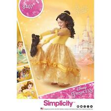 """SIMPLICITY SEWING PATTERN Disney Beauty & the Beast Costume Child 18"""" DOLL 8407"""