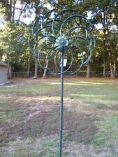 Verdigris Wind Spinner / Windmill with Changing Color Solar Light