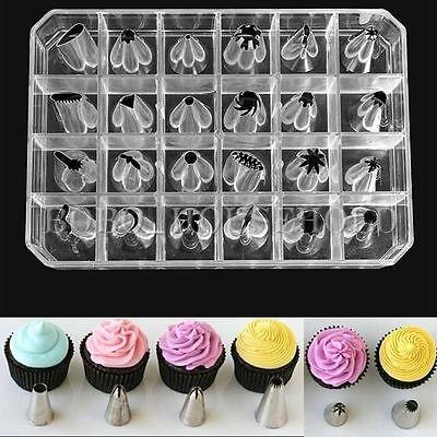 24PCS Icing Piping Nozzles Tips Pastry Cake Cup Sugarcraft Decorating Tool Set