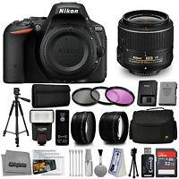Nikon D5500 Digital Slr Camera Black With 18-55mm Vr Lens + 32gb 15pc Bundle Kit