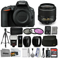 Nikon D5500 Digital Slr Camera Black With 18-55mm Vr Lens + 32gb 15pc Bundle Kit