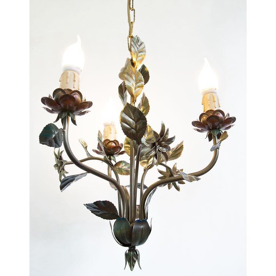 Lampadario a con rose e foglie colorato in ferro a Lampadario 3 luci 78b9f9