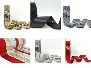 Glitter-Spakle-Ribbon-Widths-15mm-25mm-or-38mm-Red-Silver-Gold-Black-and-Pewter