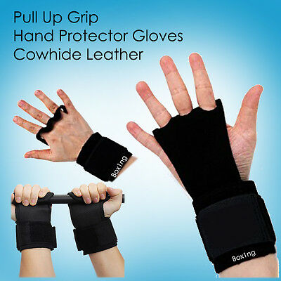 PULLUP GRIP GLOVES CROSS FIT REAL LEATHER HAND PROTECTOR 4 GYMNASTICS /& WEIGHTS