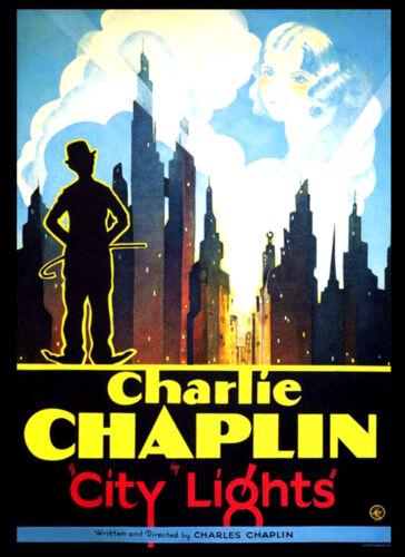 City Lights Charlie Chaplin Vintage Movie Cinema wall Home Posters Art #10 A3