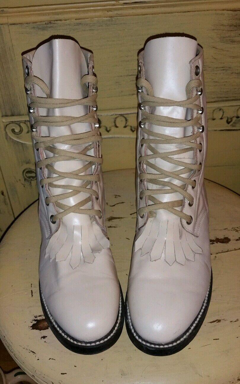 VINTAGE ACME GRANNY KILTIE BEIGE LEATHER GRANNY ACME WESTERN RIDING PRAIRIE Stiefel 6.5 M fec897