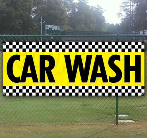 CAR WASH yellow Advertising Vinyl Banner Flag Sign Many Sizes Available USA
