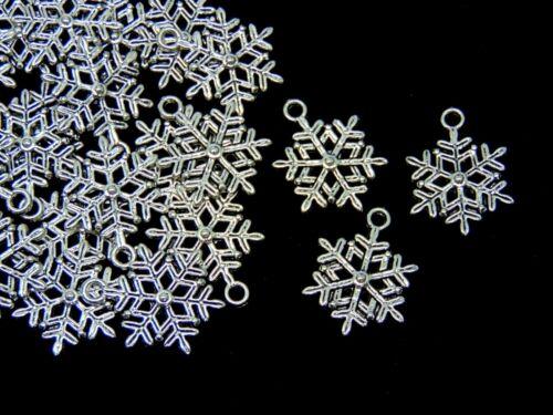 Tibetan Silver Snowflake Charm 18mm Pendant Xmas Snow Festive S33 20 Pcs