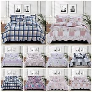 Acolchado-Patchwork-Colcha-Cobertor-solo-doble-King-Size-Juego-De-Cama-Almohadas
