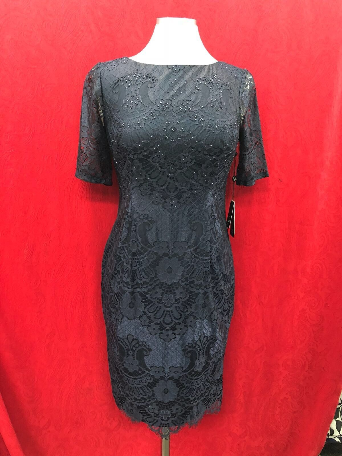 ADRIANNA PAPELL DRESS NAVY Größe 4 LENGTH 37' RETAIL NEW WITH TAG LINED
