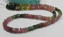 "NATURAL GEMMY PINK GREEN TOURMALINE FLAT SQUARE BEADS 14"" STRAND 88.75ct"
