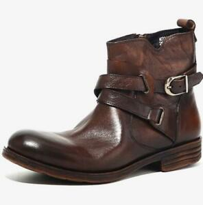 Men/'s Round Toe Genuine Leather Suede Buckle Ankle Knight Boots Block Heel Shoes