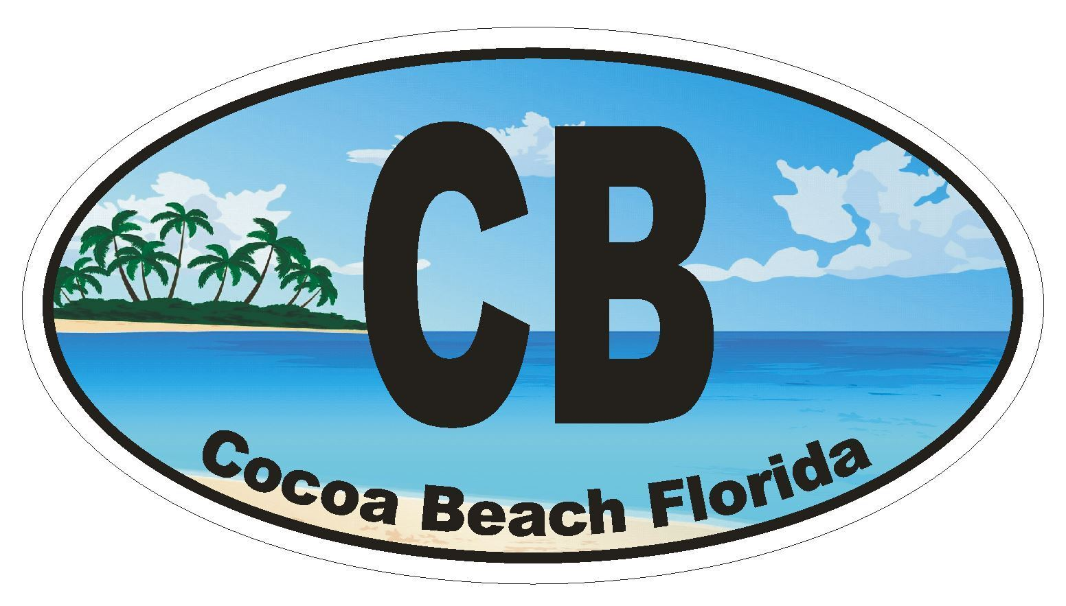 CB Cocoa Beach Florida Oval Bumper Sticker or Helmet Sticker D1123
