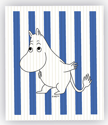 blue stripes gift idea Moomin Swedish dish cloth from Finland