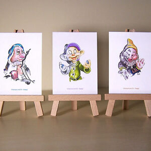 3-of-the-7-Snow-White-Dwarfs-Sleepy-Dopey-and-Happy-WDCC-drawings-ACEO-art-cards