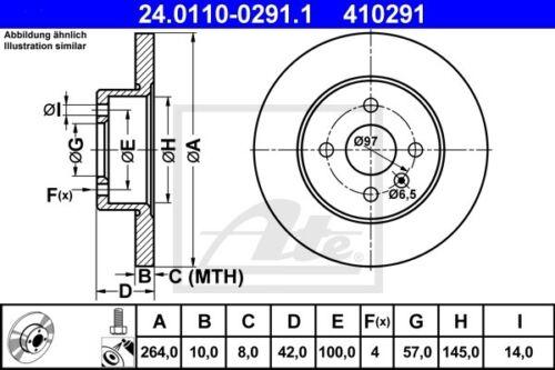 2x ATE Bremsscheibe 24.0110-0291.1 für OPEL MERIVA ASTRA COMBO CORSA A04 264,0mm