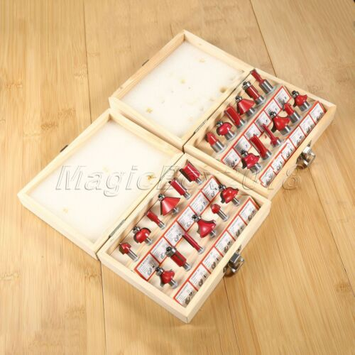 12PC Professional Alloy Router Bit Set Woodworking Milling Cutter With Wood Box