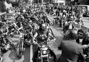 Details about Hells Angels Motorcycle Gang Gather For Funeral 70's Glossy  8x10 Photo