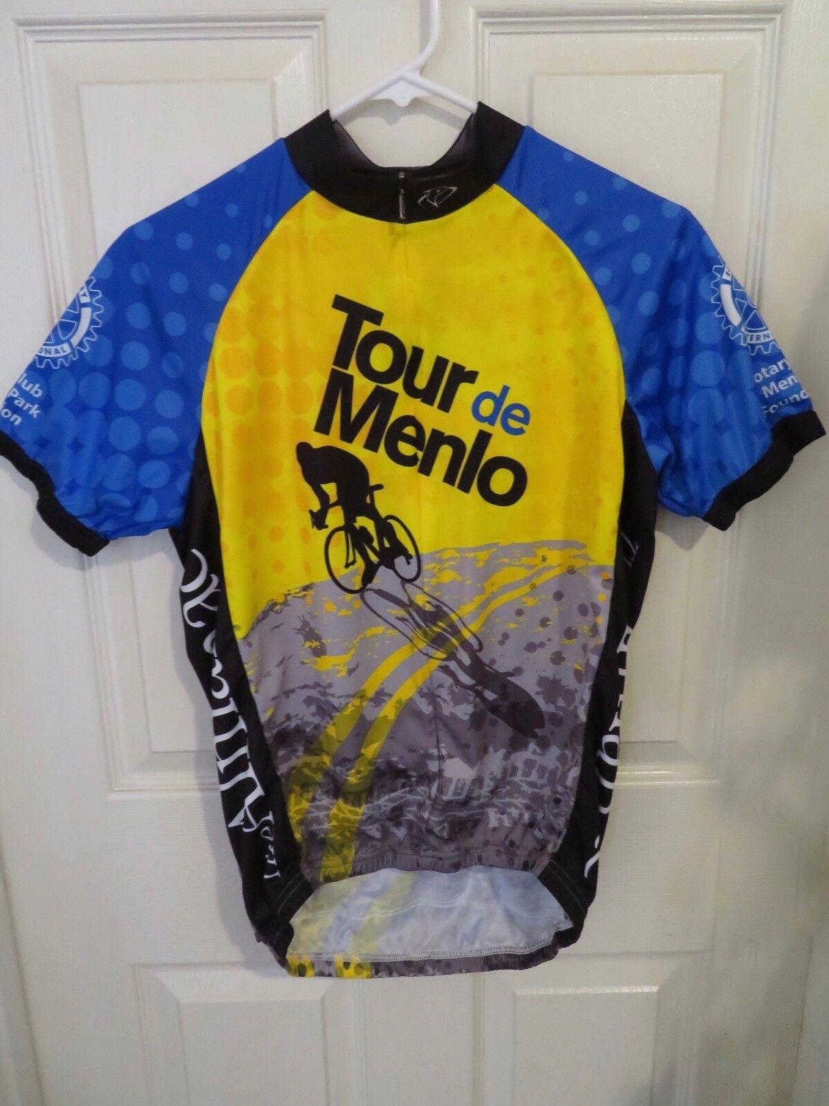 Men's Primal California Tour De Menlo Cycling Jersey bluee & Yellow Size Medium
