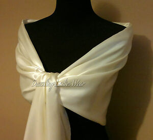 Ivory-Cream-Large-Satin-Shawl-Wrap-Stole-Bolero-Pashmina-Shrug-Scarf-Wedding-New