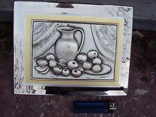 cadre en miroir biseauté décor nature morte en argent 925 signé