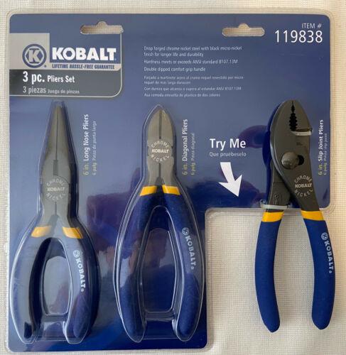 Kobalt 3 PC Plier Set,Long Nose,Diagonal,Slip Joint,6 Inch,Chrome Nickel,#119838